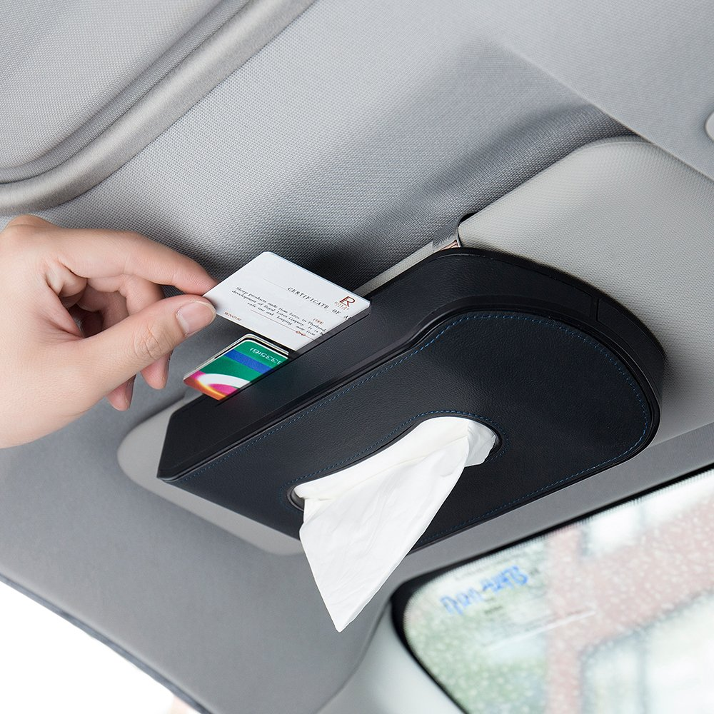 Mr.Ho Black Leather Car Visor Tissue Holder Mount, Hanging Tissue Holder Case for Car Seat Back, Multi-use Paper Towel Cover Case With One Tissue Refill for Car & Truck Decoration by Mr.Ho