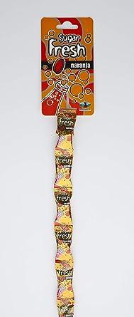 Tiras Sugarfresh Naranja Flow Pack La Asturiana - Pequeño caramelo duro refrescante relleno de pica pica, en formato flow pack, en cajas de 24 tiras (con 16 caramelos cada una), sin gluten: