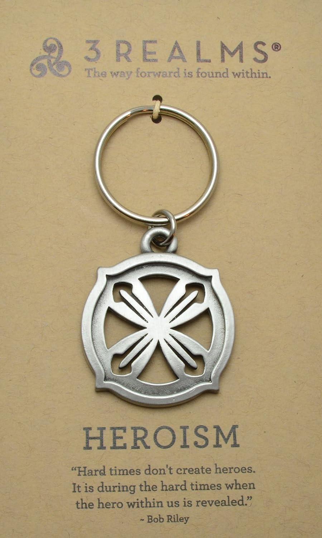 3RealmsHero Ancient Symbol Key Ring Pewter 381HE