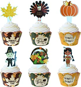 Thanksgiving Cupcake Toppers and Wrappers - Fall Harvest Pumpkin Maple Leaf Turkey Cupcake Decoration Set - 12 + 12pcs
