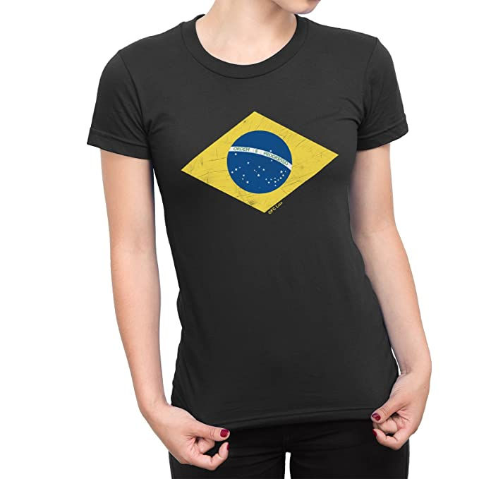 De Las Mujeres Camiseta Brazil Diamond Flag Copa del Mundo 2018 Fútbol Brasil Retro: Amazon.es: Ropa y accesorios