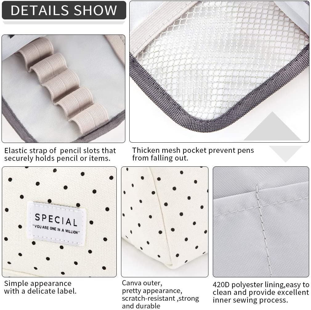 EASTHILL Big Capacity Pencil Case Canvas High Large Storage Pouch Marker Pen Case Simple Stationery Bag Holder School College Office Organizer for Teens Girls Adults Student - Black Dots