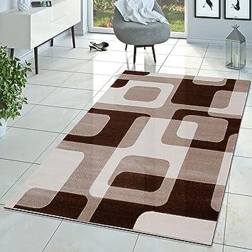 Amazon.de: T&T Design Wohnzimmer Teppich Modern Braun Beige Creme ...
