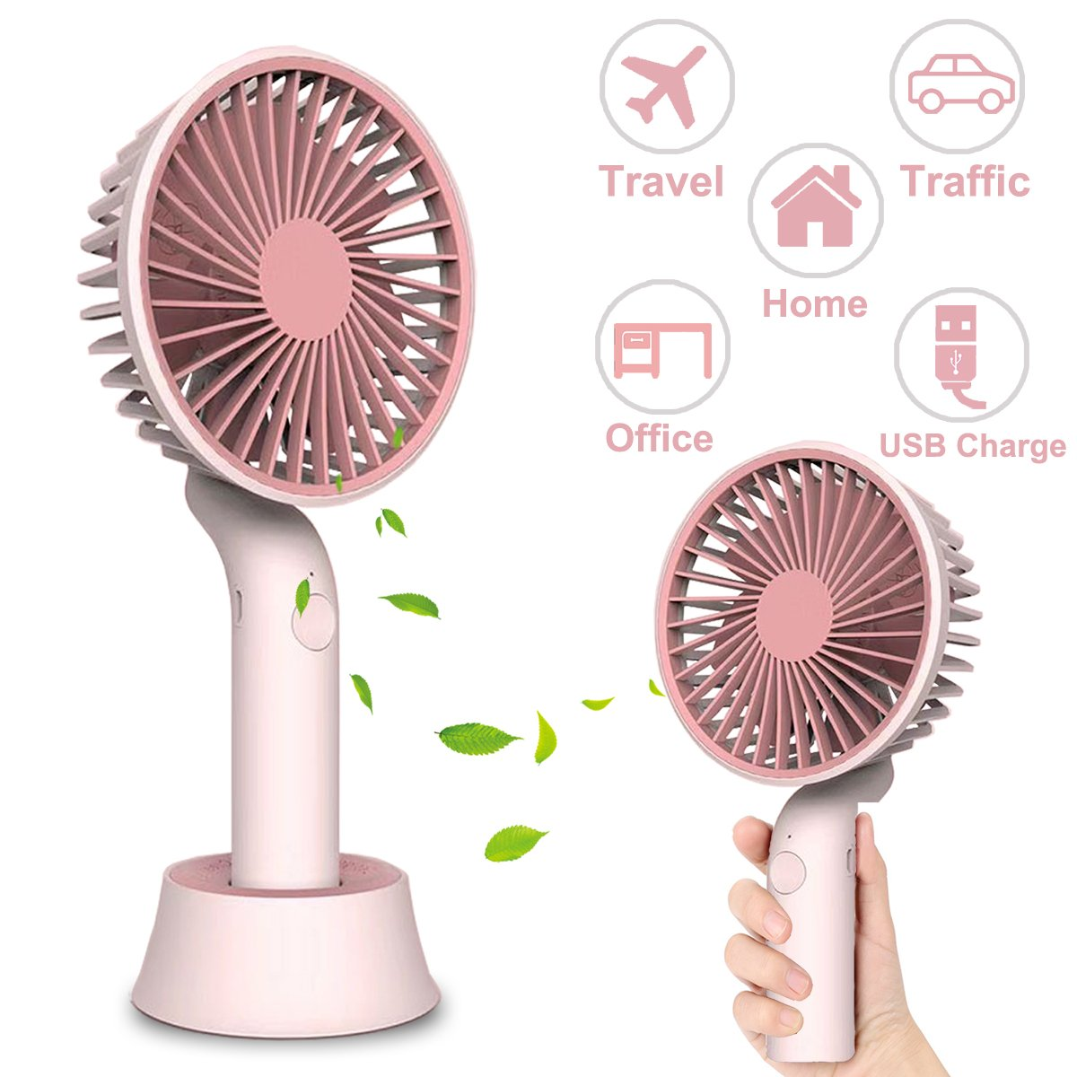 Qiwoo Mini Fan Battery Operated Portable Fan with Stand Handheld Personal USB Rechargeable Cool Fan with 3 Adjustable Speeds for Kids Women Men Table Desk Home Camping Travel Indoor Outdoor(Pink)