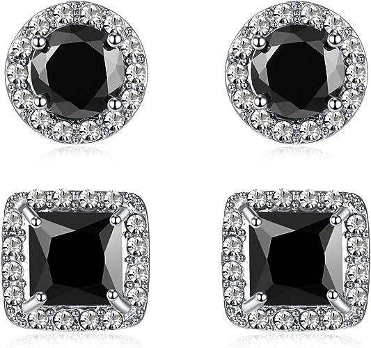 16PCS Square Cubic Zirconia Cut Stainless Steel Mens Women Stud Earrings 3-10mm