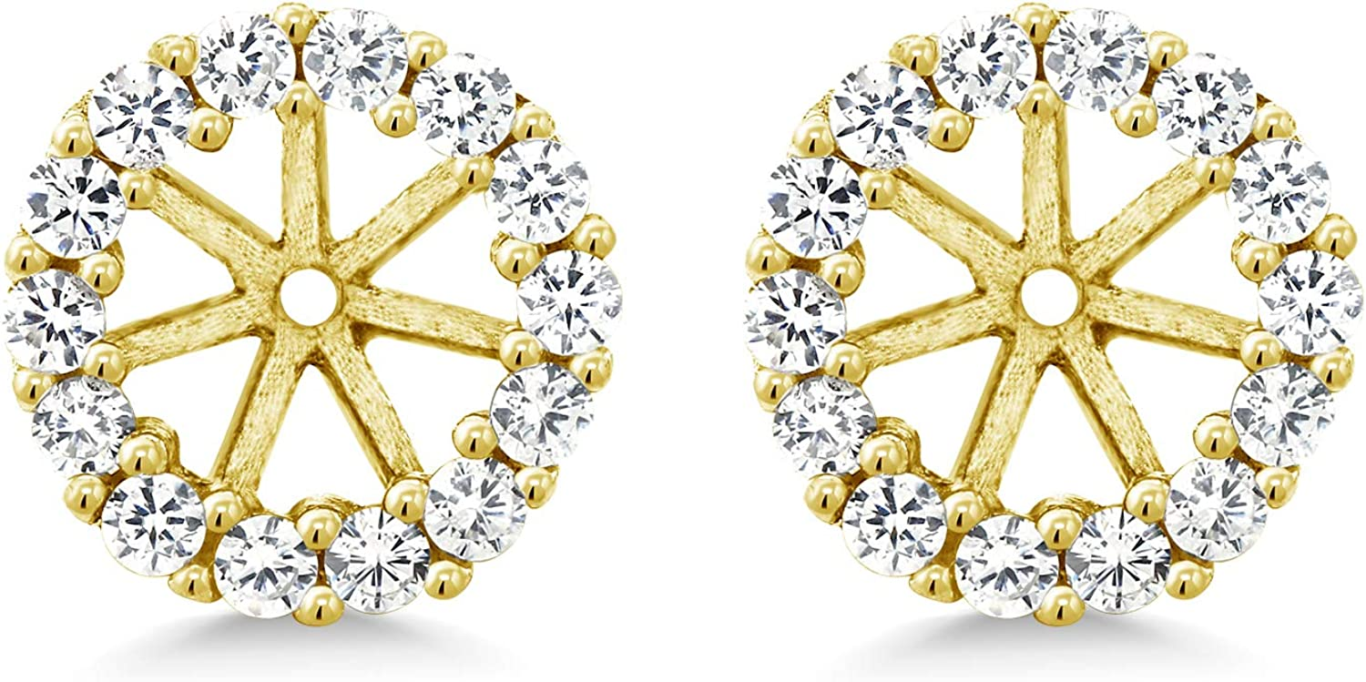 Gem Stone King 925 Solid Sterling Silver Yellow Gold Plated Earring Jackets Fits 5mm Round Studs