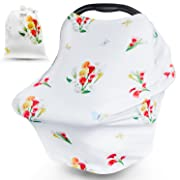 Nursing Cover for Breastfeeding, Baby Car Seat Cover, Carseat Canopy for Girls, Best Shower Gift Floral Pattern