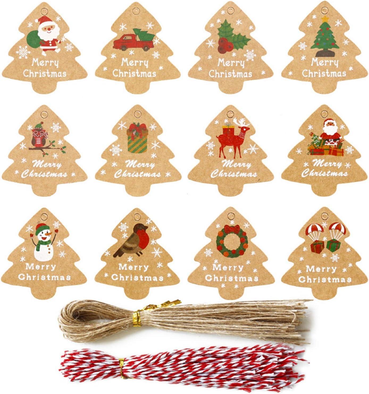 Eastor (196 St/ücke 12 Arten Weihnachten Geschenkanh/änger,Weihnachten Papier Tags Kraft Geschenk Tags H/ängen Etiketten Weihnachtsbaum Schneeflocke Elch f/ür Weihnachts Geschenk Label Paket Name Karte