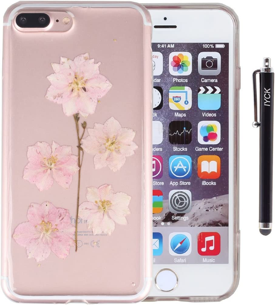 iPhone 8 Plus Case, iPhone 7 Plus Case, iYCK Handmade [Real Dried Flower] Pressed Floral Flexible Soft Rubber Gel TPU Protective Shell Back Case Cover for iPhone 7/8 Plus 5.5inch - Pink Flower