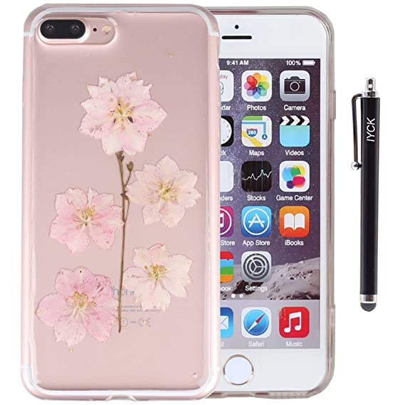 uk availability 418cf 021bb iPhone 8 Plus Case, iPhone 7 Plus Case, iYCK Handmade [Real Dried Flower]  Pressed Floral Flexible Soft Rubber Gel TPU Protective Shell Back Case  Cover ...