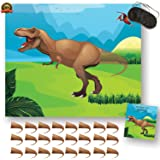 Pin the Tail on the Dinosaur Game - Birthday party supplies & decoration for boys. 24 Stickers & Blindfold | Alpine Celebrations