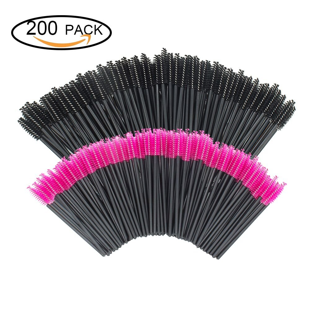 GoWorth 200 PCS Disposable Eyelash Mascara Brushes Makeup Brush Wands  Applicator Makeup Kits(Rose Red