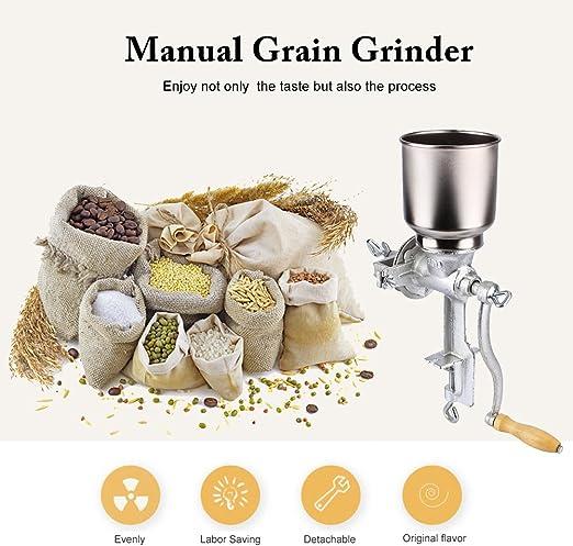 Estink Molino de Grano Molinillo Manual Molinillo de Cereales Trituradora de Hierro Fundido de Caf/é Frijoles Mung Man/í S/ésamo Amoladora Ajustable Disfruta de Vida Sana para Cocina Hogar
