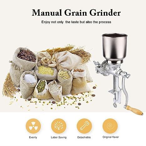 Zerone Molinillo Manual, Amoladora Ajustable Trigo Grano de Trigo Molinillo de Café Molinillo Trituradora de