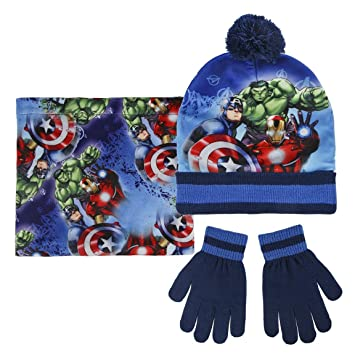 finest selection f82a1 c3073 Marvel Avengers 2200-2542 Childrens Winter Set, Beanie Hat With Pompon,  Neck Warmer