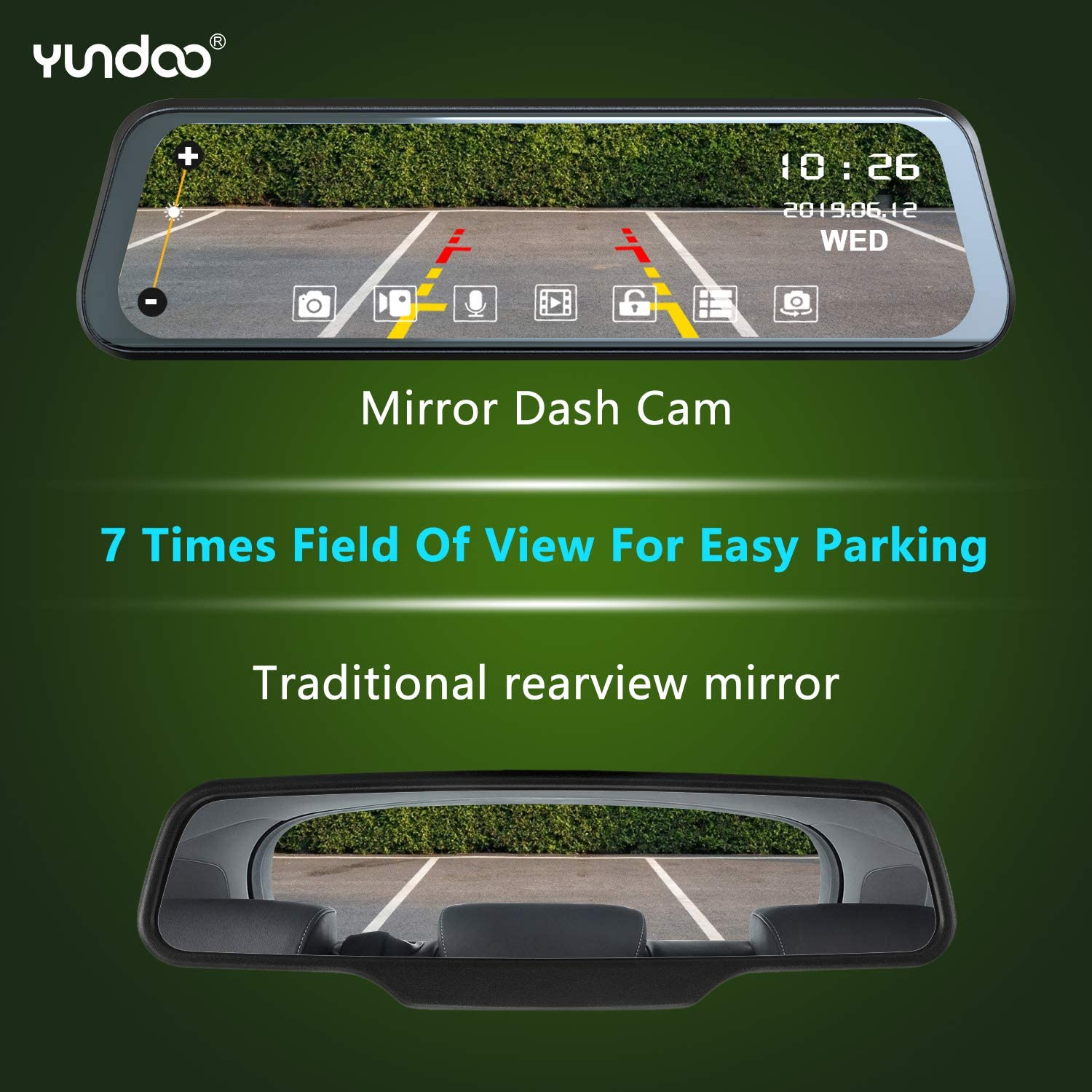 1080P Full HD Stream Media Dual Lens Car Camera ,10 Inch Full Touch Screen with 1080P Backup Camera Loop Recording. Mirror Dash Cam Front and Rear G-Sensor Super Night Vision Parking Monitor