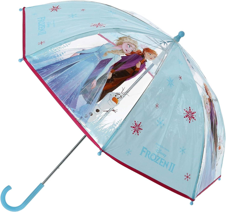Disney Frozen II Paraguas Frozen | Azul-Transparente Sombrilla para niños