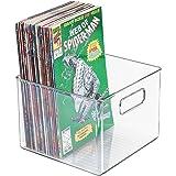 mDesign Home Storage Organizer Bin for Comic Books, Magazines - Clear
