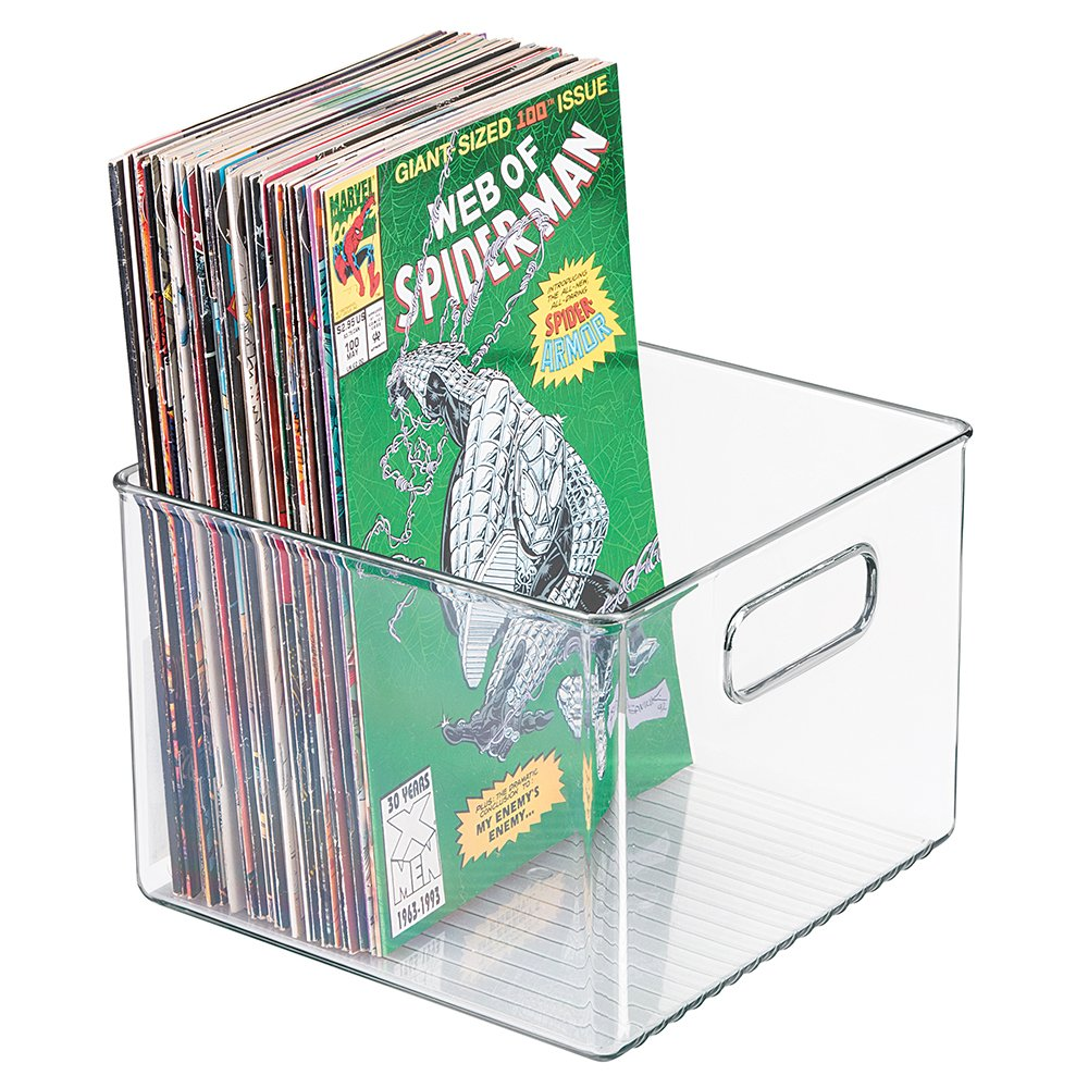 mDesign Home Office Storage Organizers Plastic Bins Holders Boxes Cases Cubes for Comic Books, Magazines Storing Organizing - Set of 2, Clear MetroDecor 7966MDHS