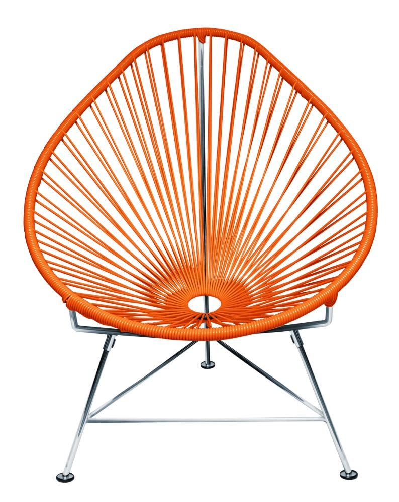 Acapulco chair outdoor - Amazon Com Innit Designs Acapulco Chair Orange Weave On Chrome Frame Patio Lounge Chairs Patio Lawn Garden