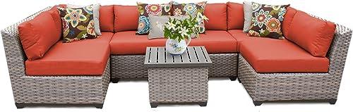 TK Classics FLORENCE-07c-TANGERINE 7 Piece Outdoor Wicker Patio Furniture Set
