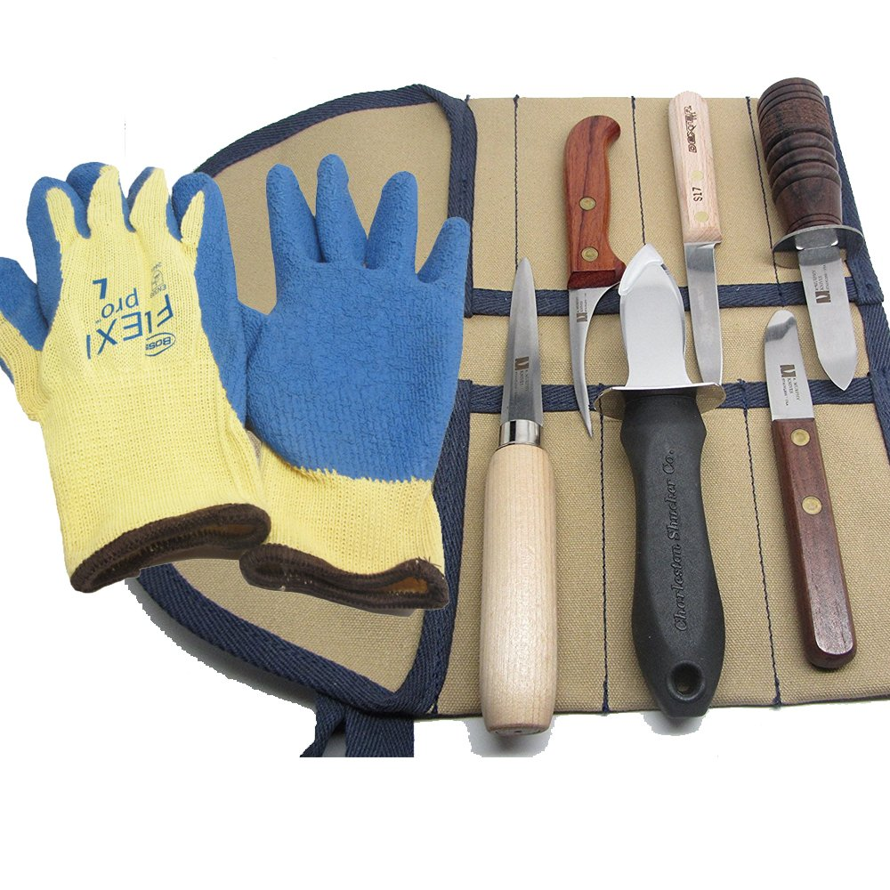 Variety of Oyster Shucking Clam Seafood Shellfish Knife Tools with Heavy-duty Grip Gloves (5 Knife Seafood Variety Pack w/ Gloves) by UJ Ramelson Co (Image #1)