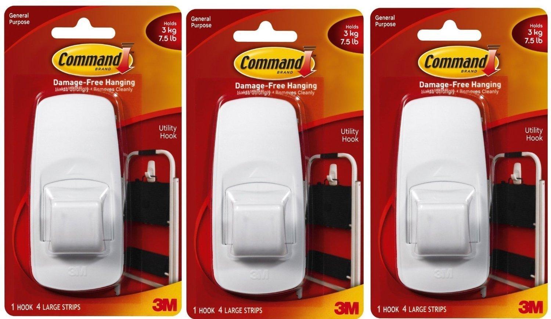 Command Jumbo Plastic Hook with Adhesive Strips, 3-Hooks AX-AY-ABHI-56644