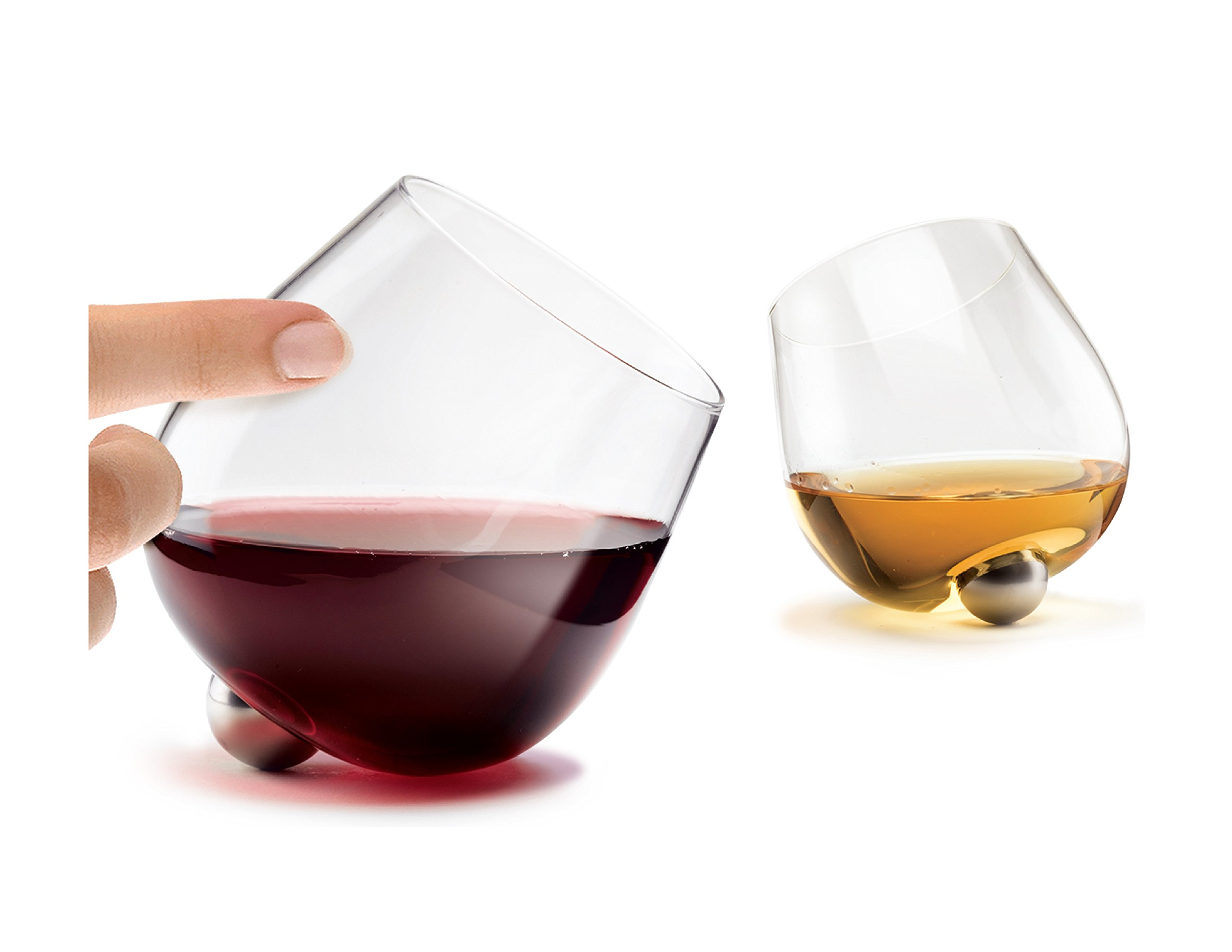 Aura Glass | Unique Stemless No Spill Aerating Glass for Wine & Spirits | Set of 2
