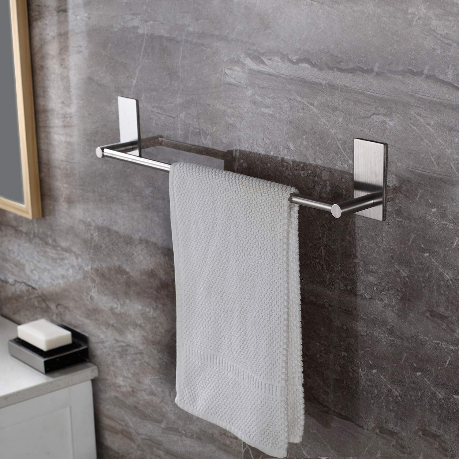 Taozun Self Adhesive 16-Inch Bathroom Towel Bar Brushed SUS 304 Stainless Steel Bath Wall Shelf Rack Hanging Towel Stick On Sticky Hanger Contemporary Style by Taozun
