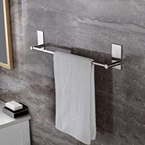 Taozun Self Adhesive 16-Inch Bathroom Towel Bar Brushed SUS 304 Stainless Steel Bath Wall Shelf Rack Hanging Towel Stick On Sticky Hanger Contemporary Style
