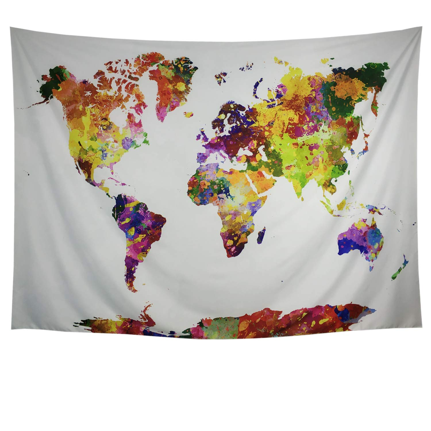 Generleo Flower World Map Tapestry Floral Watercolor Map Tapestry Colorful Abstract Painting Tapestry Wall Hanging College Student Dorm Decor
