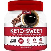 KETO:SWEET Ultimate Keto Sugar Alternative, 100% Natural Erythritol - Granulated In Pourable, Resealable Jar (9.8 Oz…