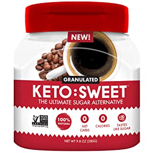 KETO:SWEET Ultimate Keto Sugar Alternative, 100% Natural Erythritol - Granulated In Pourable, Resealable Jar (9.8 Oz (Pack of 1))
