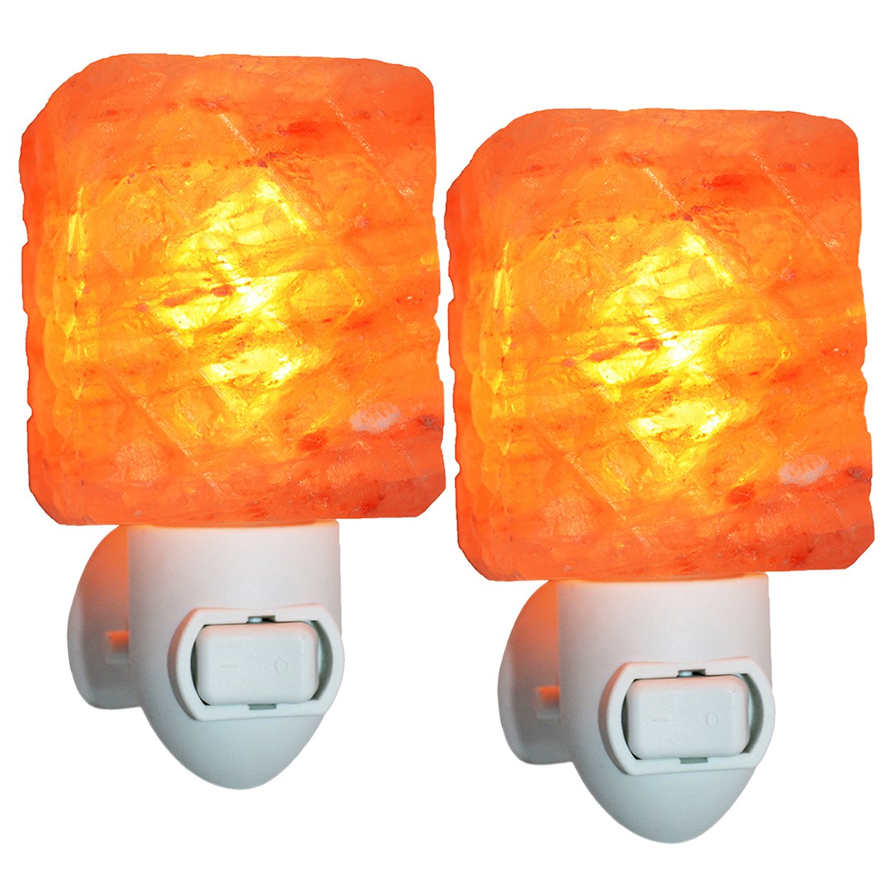 Maymii•Home 2 Pack Carved Cube Mini Himalayan Salt Night Light Lamps Plug in Wall Night Light Crystal Salt Lamp Natural Air Purifier and Soft Night Light for Living Dining Bed Room and Office