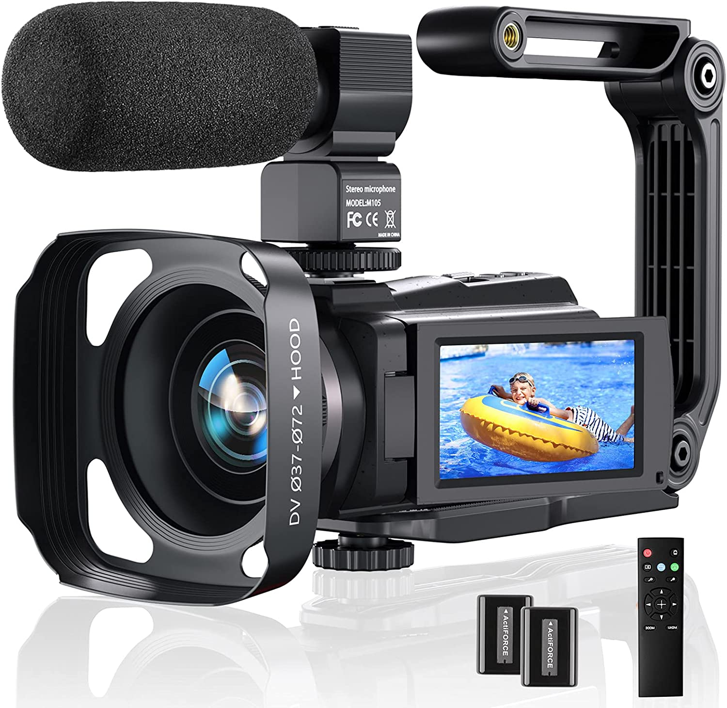 4K Video Camera Camcorder, 48MP 60FPS YouTube Camera WiFi IR Night Version Vlogging Camera 3.0 Inch Touch Screen 16X Zoom Digital Video Camera Recorder with Microphone, 2.4G Remote, Stabilizer, Hood