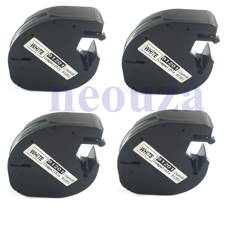 12 mm x 4 m 91209 Black on Metal Green compatibili con Dymo LetraTag-Etichette in plastica NEOUZA 4 pezzi