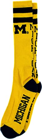 NCAA Michigan Wolverines Maize Tube Socks, One Size, Blue