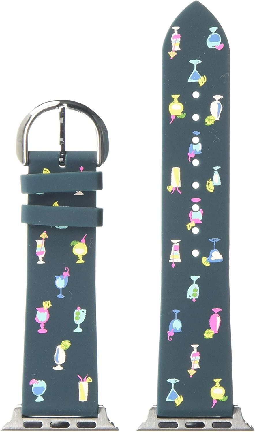 Kate Spade New York Women's Silicone Apple Watch Band Strap 38mm 40mm Color: Blue Cocktails (Model: KSS0077)