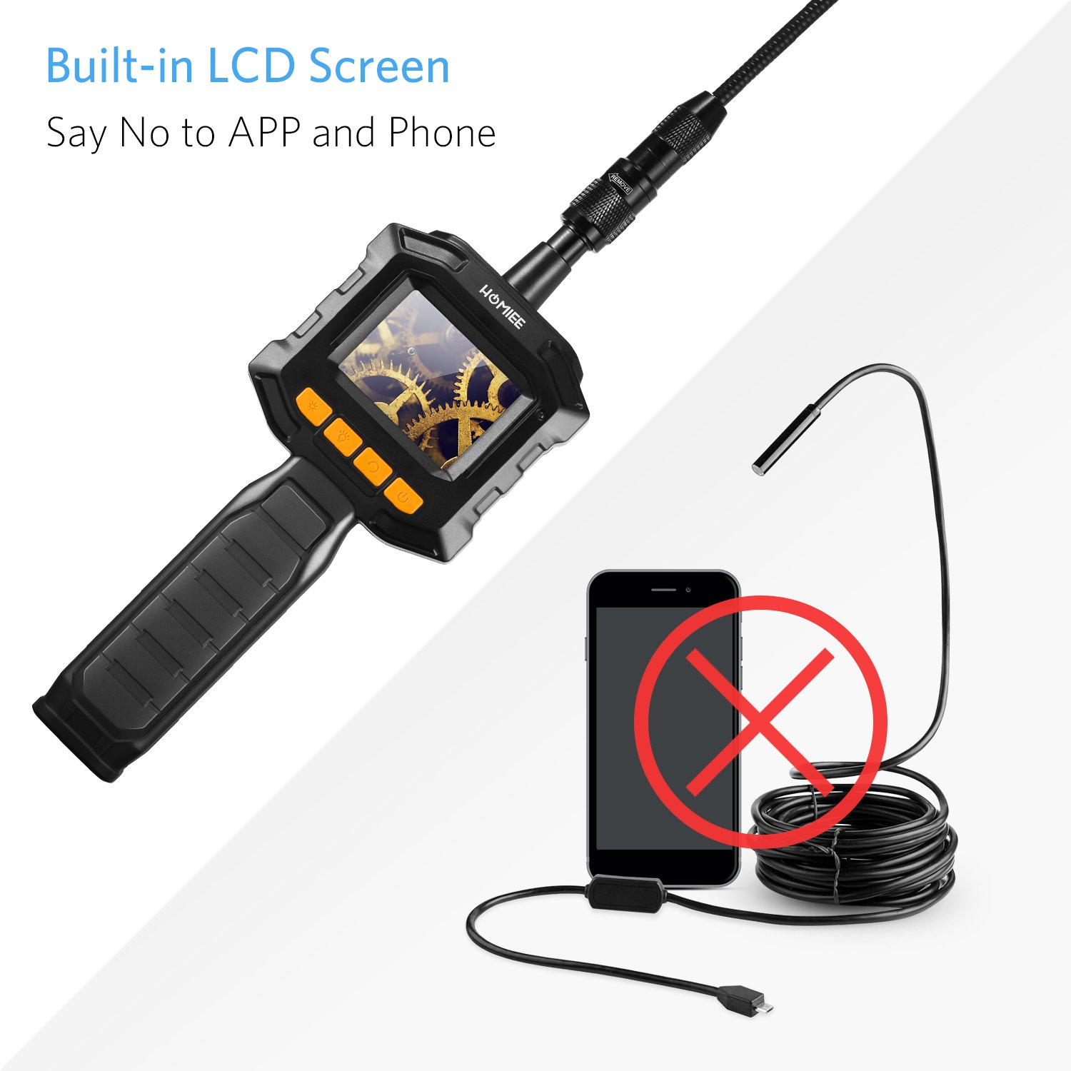 3.2 Ft IP67 Waterproof Tube Portable Toolbox Included HOMIEE Inspection Camera Endoscope with 2.3 Inch Color LCD Screen Semi-Rigid Snake Camera Kit with 4 LED Lights and 8 Brightness Level