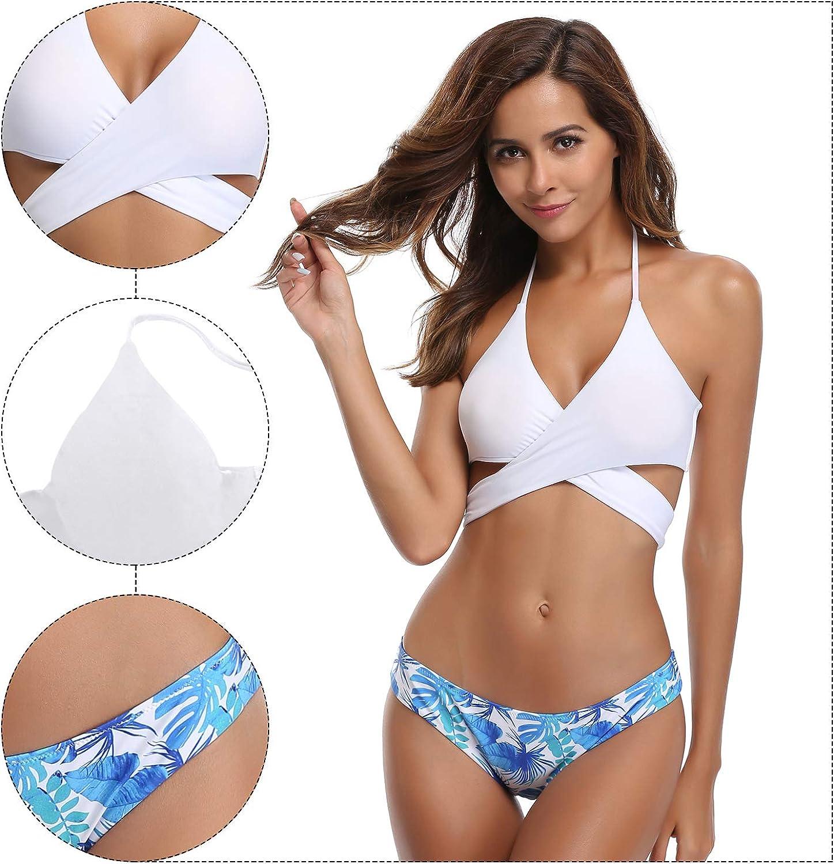 SHEKINI Mujeres Front Cross Bandage Bikini Floral impresi/ón Inferior Traje de ba/ño