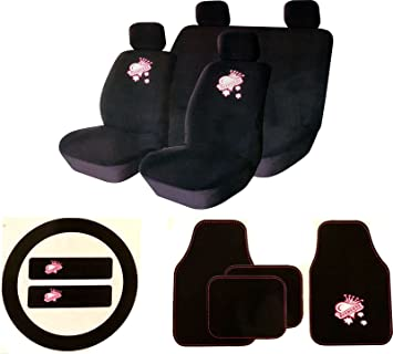 XtremeAutoR Princess Car Seat Cover Set With Matching Accessory Kit