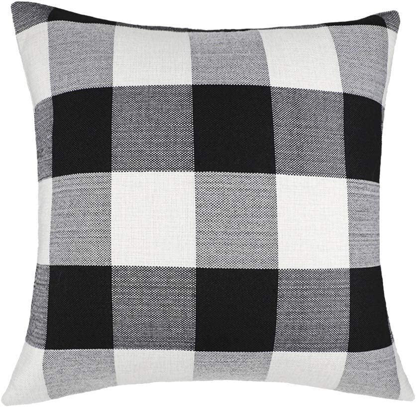 Zipper Closure Black White Buffalo Check Buffalo Plaid Check Pillow Covers Euro Shams Throw Pillow lumbar 24x24 Ecru French Gray Snowy Blue