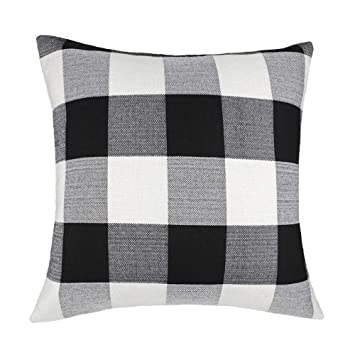 Fine 4Th Emotion 24 X 24 Inch Black And White Buffalo Check Plaids Throw Pillow Case Cushion Cover Retro Farmhouse Decoration For Couch Sofa Bed Dailytribune Chair Design For Home Dailytribuneorg
