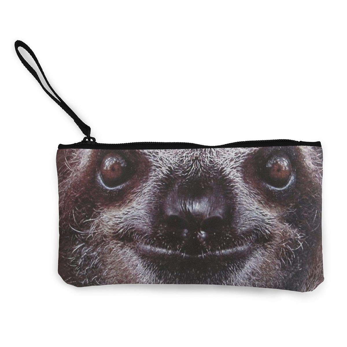 Canvas Cash Coin Purse,Sloth Face Animal Print Make Up Bag Zipper Small Purse Wallets
