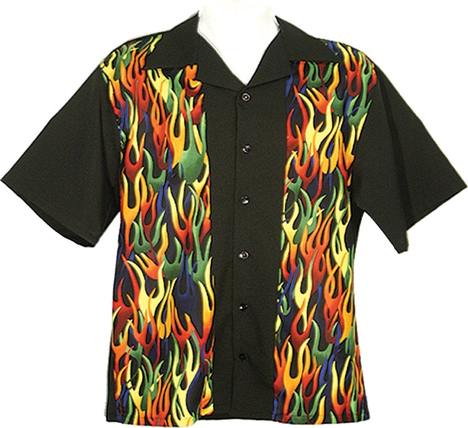 Tutti Retro Bowling Shirt with Flame Front Panels (Small)