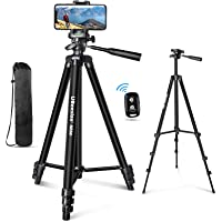 "UBeesize 60"" Phone Tripod with Carry Bag & Cell Phone Mount Holder for Live Streaming, Extendable Travel Lightweight…"