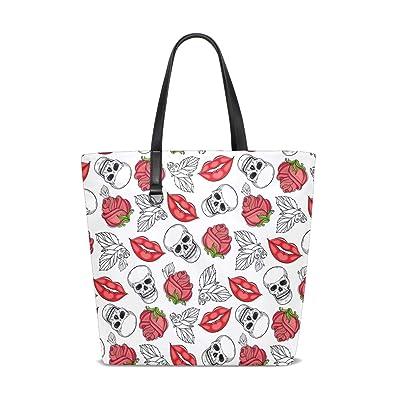 Amazon.com: Bolso multiusos con diseño de calaveras de rosas ...