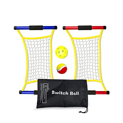 Switch Ball Game Set with 2 Launch Mesh Nets and 2 Balls, 1 Tennis & 1 Pickle Ball - Lightweight and Durable Fun Toy for Kids Teens Families - Indoors and Outdoors: Toys & Games
