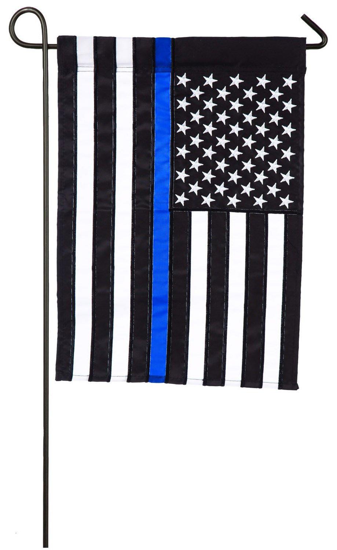 Evergreen Flag Thin Blue Line Police Applique Garden Flag, 12.5 x 18 inches