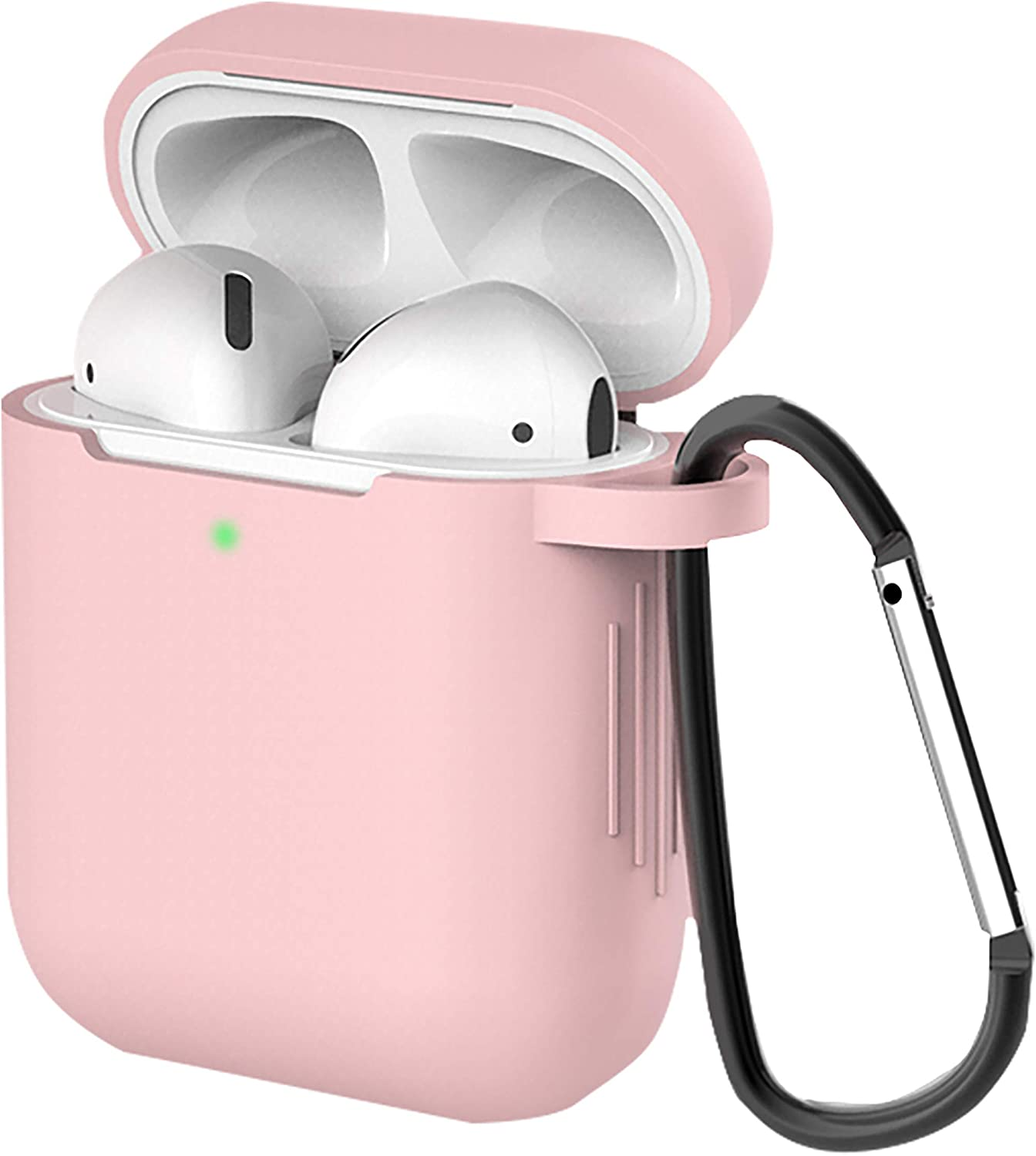 AirPods Case Cover with Keychain Carry Soft Silicone Full Protective Skin Designed for Apple AirPod 2 & 1,Wireless and Wired Charging Earpods(Front LED Visible) (Pink)